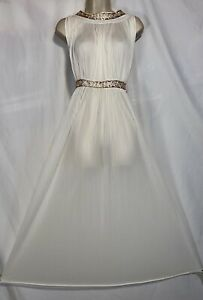 Vtg M L GRECIAN Ivory Pleated Nylon Nightgown Gown w Fancy embossed Gold Trim