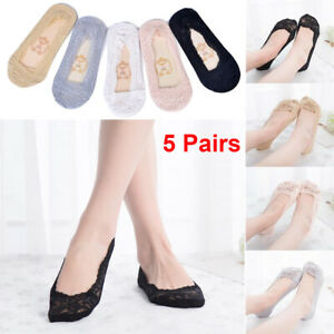 5 Pairs Women Ladies Skin Shoe Liners Footsies Invisible Thin Lace Socks Sheer