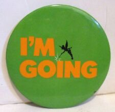 DISNEY VACATION I'M GOING TINKERBELL PETER PAN PROMOTIONAL METAL PIN BACK BUTTON
