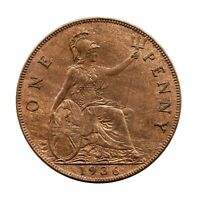 KM# 838 - One Penny - Freeman 214 (5+C) - George V - Great Britain 1936 (EF)