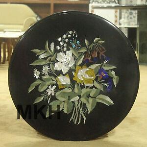 "Marble Coffee Table Inlay Gemstone Top 24"" Tables Marquetry Pietra Dura Vintage"