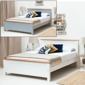Modern White / Grey Oak Trim Wooden Bed Frame Single Double King Size || BSD