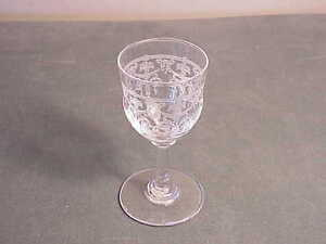 """VINTAGE FANCY ETCHED EUROPEAN CRYSTAL SHERRY / CORDIAL STEMWARE GLASS  -3 1/8"""" T"""