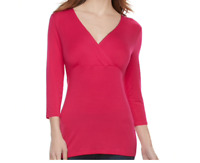 SMALL Nursing Top Dark Pink Wrap Blouse NEW a glow Maternity NWT Shirt S 4 6