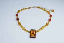 Yellow and Orange Dichronic Glass and Acrylic Beaded Pendant Necklace