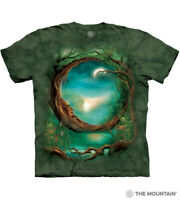 The Mountain 100% Cotton Moon Tree Adult Unisex Green T-Shirt Sizes L - XL NWT