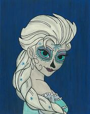 Elsa Day of the Dead print 8X10, Comic character and Pop Art