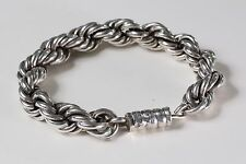 Chunky Vintage Mexico Sterling Silver 925 Twisted Rope Bracelet 61.4g 8.25""