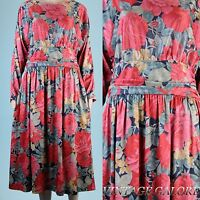 VINTAGE Red Green Floral swing Rockabilly slouch Top Back Flowing dress Sz M