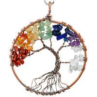 7 Chakra Tumbled Stone Gemstone Tree Of Life Healing Wire Wrapped Pendant Reiki
