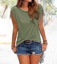 Fashion Womens Summer Loose Top Short Sleeve Tassel Blouse Casual Tops T-Shirt