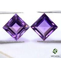 9.79 Cts Certified Natural Amethyst Square Cut Pair 10 mm Top Purple Gemstones