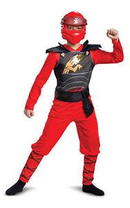 Licenced Kids Lego Ninjago Kai Legacy Jumpsuit Costume Red Ninja Movie Outfit