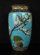 Vase émaillé cloisonné polychromie bird flowers Chine XIX enamel China 景泰蓝花瓶瓷器十九