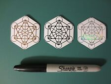 Metatrons Cube Magnet Set, Sacred Geometry, (1 Copper, 1 Holographic, 1 Black)