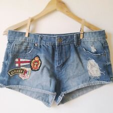 Aviva Size 11 Distressed Jean Shorts Women Ripped Destroyed w Traveler Patch A5