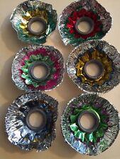 6 German Punched COLOR Tin Metal CHRISTMAS Tree Light REFLECTORS Original Box