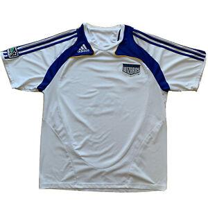 Kansas City Wizards Soccer Jersey XL White Blue MLS Adidas Football Club