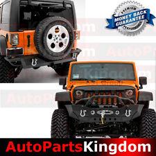 07-17 Jeep Wrangler JK HD Front Bumper Double Plate+Rear Bumper+Hitch Receiver