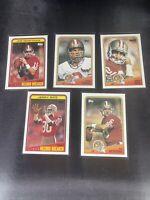 1988 Topps Joe Montana Steve Young Jerry Rice 5 Card Lot Pack Fresh