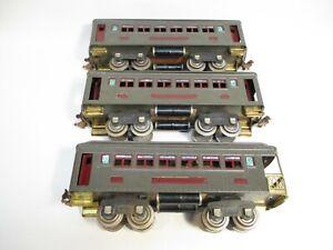 O Gauge Lionel 605, 605, 606 Pullmans Dk Gray Maroon Set Prewar X7430