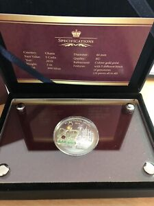 5 Cedis Ghana 2020 - 2 OZ Saint Edwards Crown 2020 mit Edelsteinen