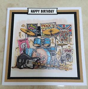 Handmade Birthday 3D decoupage electric guitar rock band drums music card