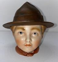 Vintage H&S Porcelain Figural Tobacco Jar Humidor- Boy Scout- Germany