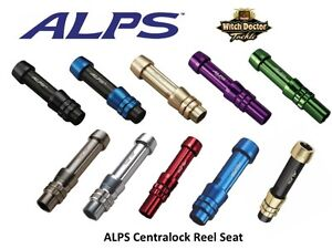 ALPS Centra-Lock Aluminum Reel Seat SZ 18-26, 10 Colors Spinning or Conventional