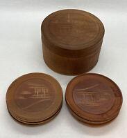 Vintage Japanese Hand Carved Wooden Coaster Set 8 with Wooden Case
