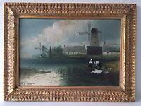 Vintage Original Oil Painting Signed - Landscape, Painted 1907 Dutch Windmill