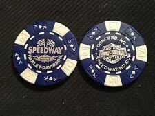"Harley Golf Ball Marker Poker Chip (Blue/White) ""Speedway"" Concord NC NASCAR"