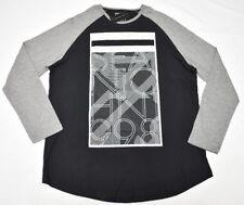 $39 NWT Men Sean John T-Shirt Raglan Scallop Graphic Tee Black Grey 2XL XXL N617