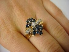 VINTAGE 14K YELLOW GOLD SAPPHIRES AND DIAMONDS LADIES COCTAIL RING, SIZE 8.25