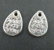"""160pcs Tibetan Silver """"made for you"""" Charms 11x8x1mm 5193"""