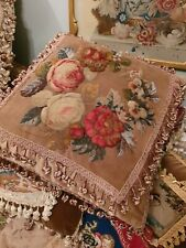 More details for stunning antique victorian plushwork  beadwork  and needlework  cushion pillow