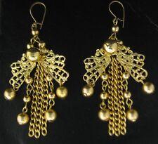 1pr Vintage Gold Plated Fancy Dangling Filigree Fairy Wing Earwire Earrings