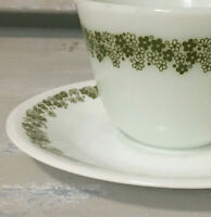 1 Pyrex Corelle Corning Spring Blossom Cup saucer Green Crazy Daisy  6 Available