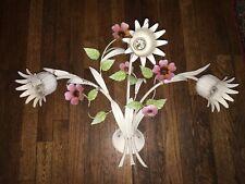Vintage  Metal 3 light Floral Bouquet Electric TOLE Lamp Wall SCONCE