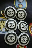 100% Chanel buttons lot 6 black & white  cc logo 20 mm 0,8 inch 💔💔💔