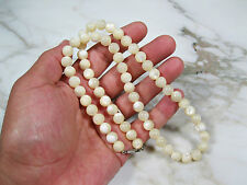 HIGH QUALITY ANTIQUE VICTORIAN MOTHER OF PEARL BEADED NECKLACE STERLING FILIGREE
