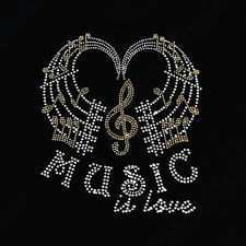 "Rhinestone Transfer "" Music is Love with Music Notes "" Hotfix, Iron On, DIY"