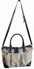 Authentic GUCCI Diamante Sukey 247902 Brown Canvas Black Leather 3Way Bag