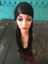 26 inches long Braided wig,  Cornrowed Wig Black with hint of purple