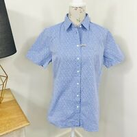 RM Williams Womens Nicole Shirt Blue Floral Short Sleeve Button Front Size 12