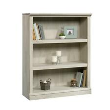 3 Shelf Bookcase Storage Organizer Rack Wooden Durable Chalked Chestnut Finish