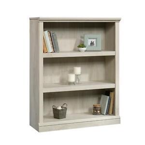 3 Shelf Bookcase Storage Organizer Rack Wooden Durable Chalked Chestnut Finish