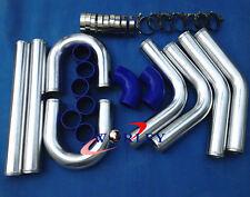 "2.25"" INCH 57mm Aluminum Universal Intercooler Turbo Piping Pipe +Blue Hose Kits"