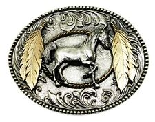 Prancing Horse Belt Buckle Pony Feathers Western Authentic White Wolf 24ct Gold