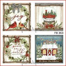 ~ Vintage Let it Snow Red Truck Christmas Tree Farm 4 Prints on Fabric FB 363 ~